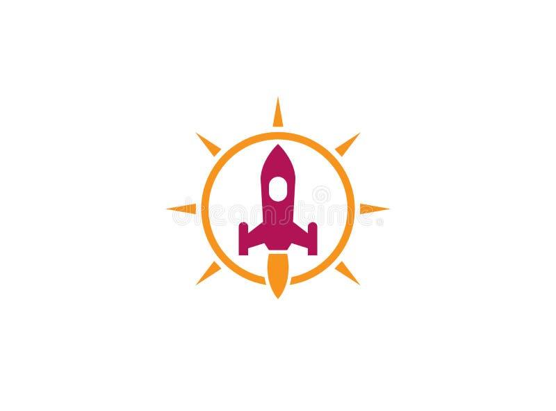 一枚火箭的发射有火焰的在商标设计例证的明亮的太阳圈子里面 皇族释放例证