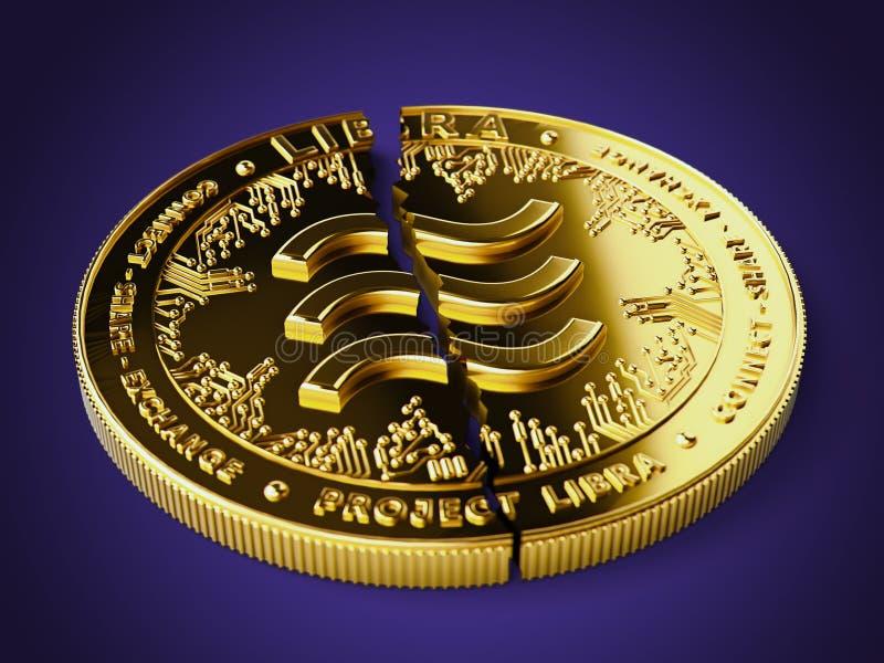 一枚破碎或破碎的天秤概念硬币正躺在紫色背景上 陷入困境的天秤座 — 被投资者概念抛弃 3D 免版税库存照片