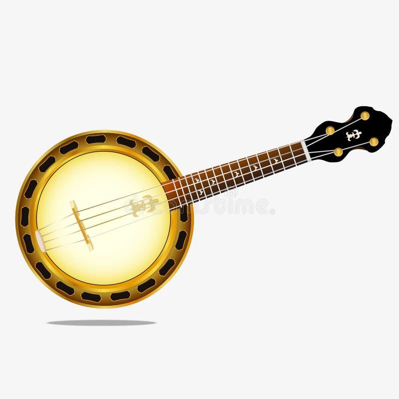 一架乐器班卓琵琶的传染媒介图象 库存例证