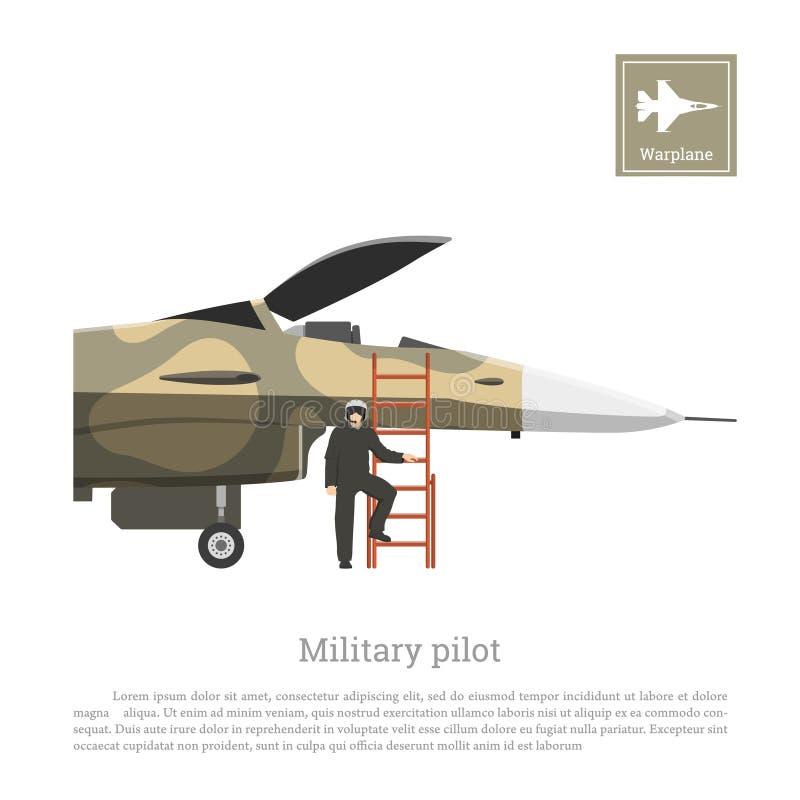 一架军用飞机的飞行员为飞行做准备 在伪装颜色的战争飞机 库存例证