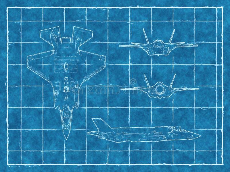 一架喷气机的图纸有四个看法 3d翻译 向量例证