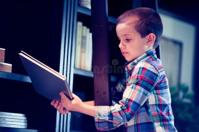 一架梯子的男孩与书在图书馆里 免版税库存图片