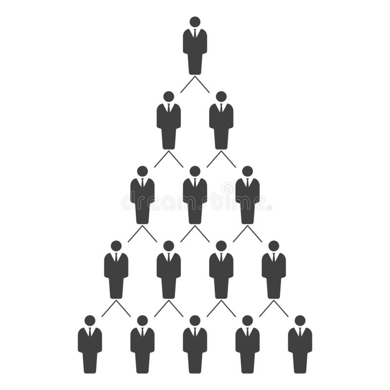 一架等级制度的事业梯子的图表例证 人力资源管理系统 E 库存例证