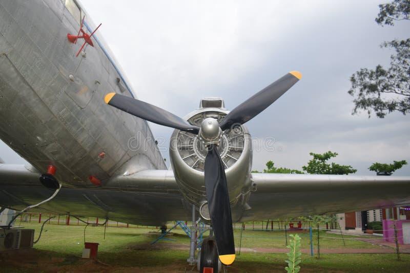 一架飞机的涡轮在biman博物馆,达卡,孟加拉国-行军26日2019年:平面涡轮 库存图片