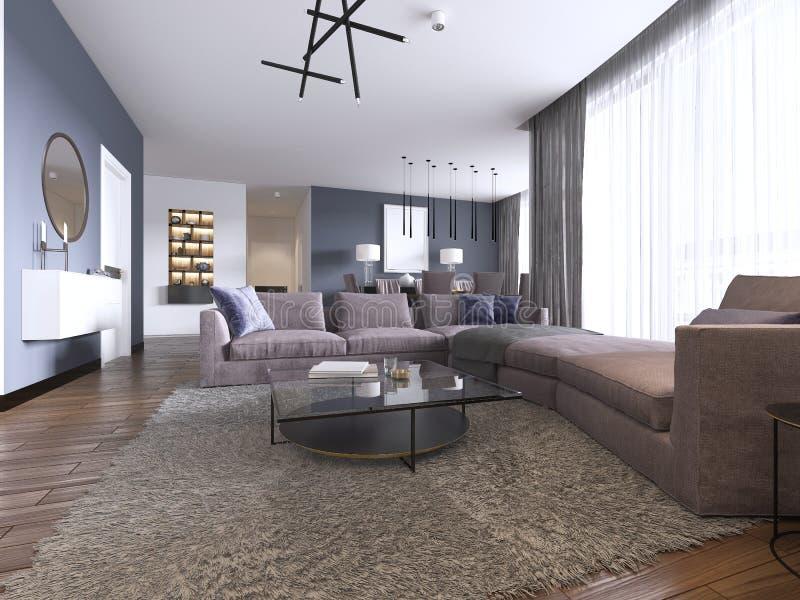 一栋新的公寓的当代大客厅与大沙发和饭厅 皇族释放例证
