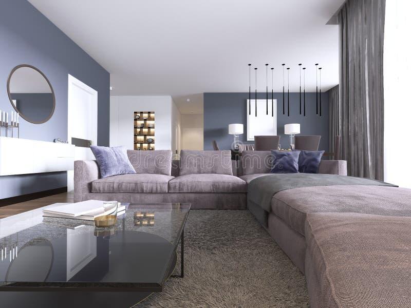 一栋新的公寓的当代大客厅与大沙发和饭厅 库存例证