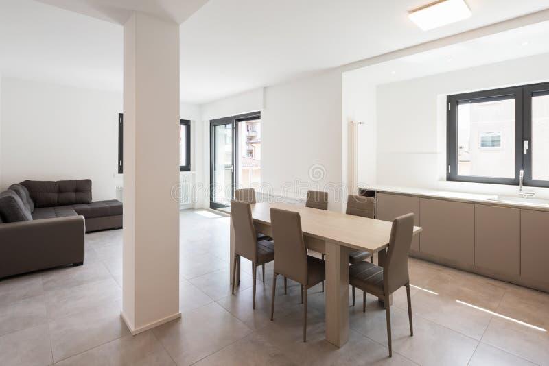 一栋现代公寓的最小的厨房 库存图片
