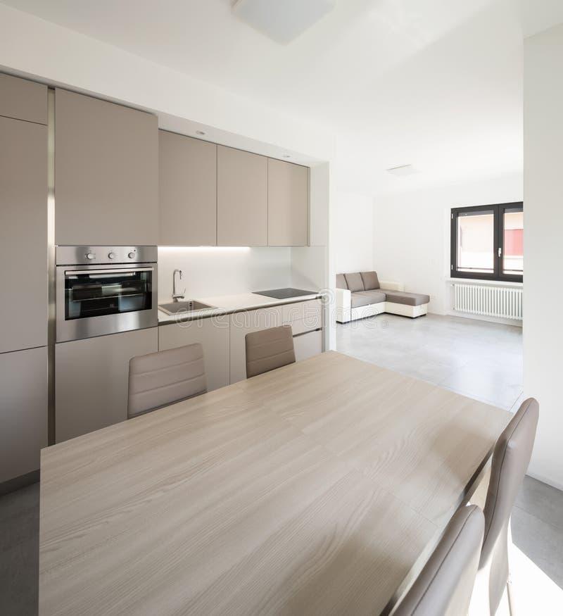 一栋现代公寓的最小的厨房 免版税库存照片