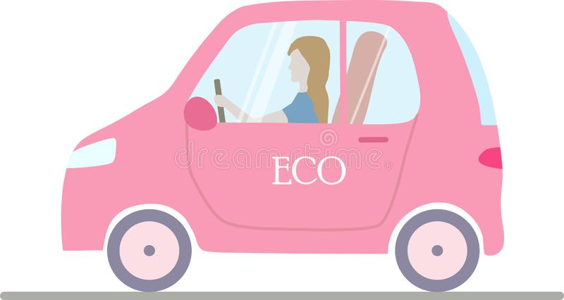 一桃红色被隔绝的eco;有妇女的ogical电车 皇族释放例证