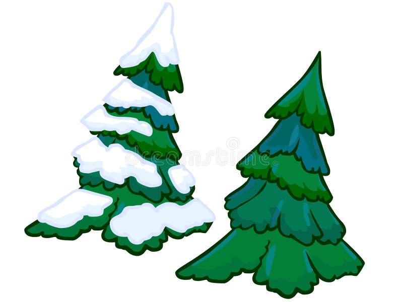 一棵云杉的树的动画片例证 向量例证