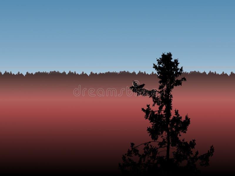 一棵偏僻的树,遥远的森林背景 bogart 例证 库存照片
