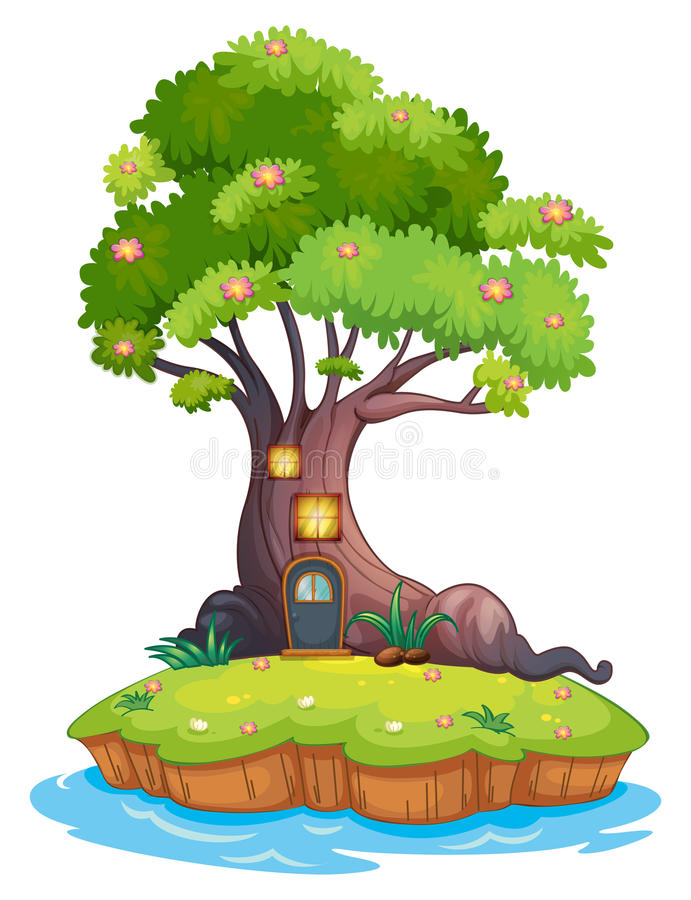 一棵巨型树在海岛 向量例证