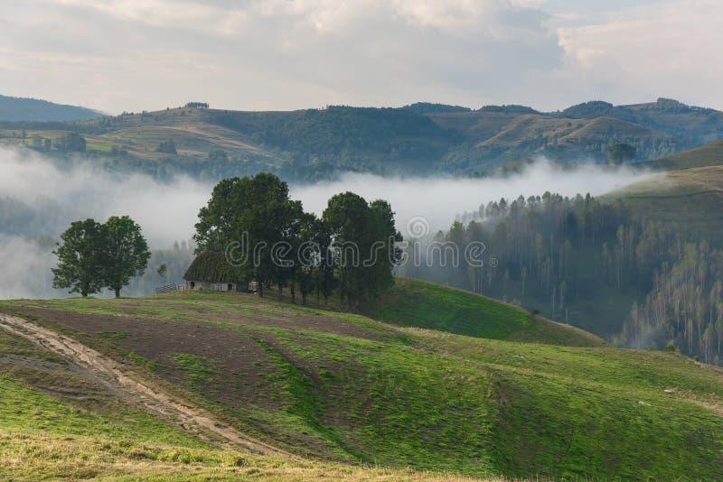 一棵有雾的早晨的美好的山风景与和老房子和树 免版税库存照片