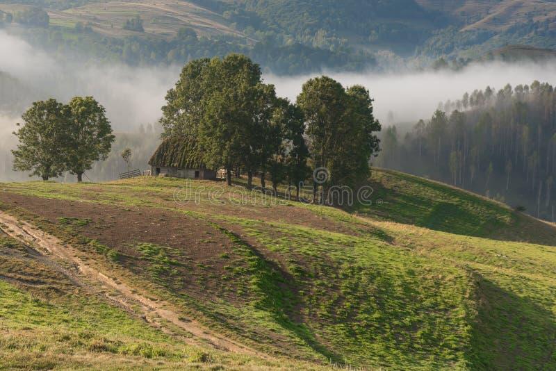 一棵有雾的早晨的美好的山风景与和老房子和树 库存照片