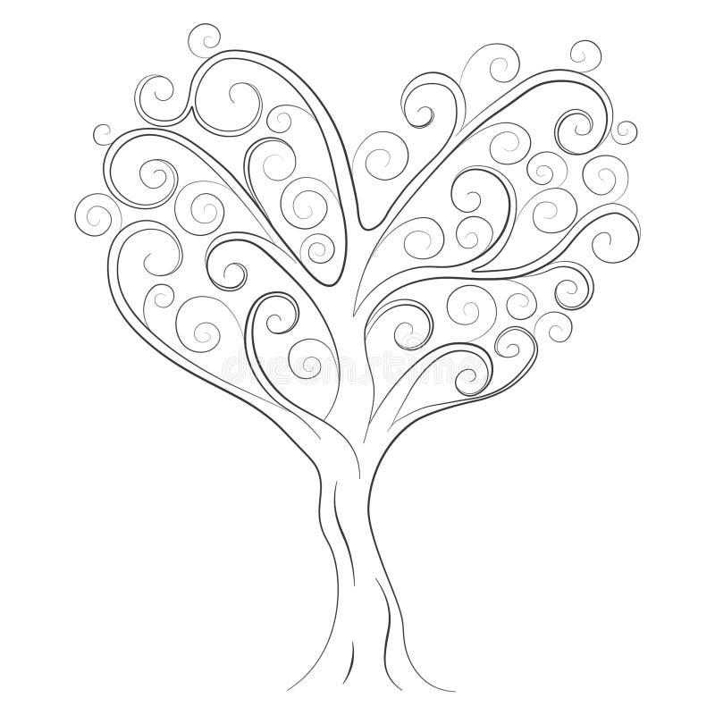 一棵树的剪影在白色背景的图片