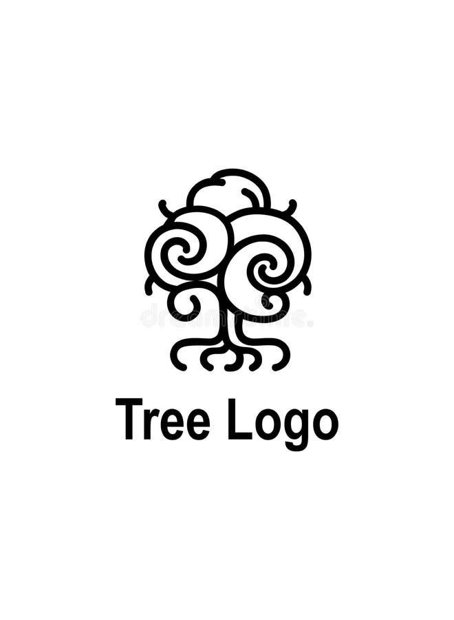 一棵树的商标与根的 传染媒介线艺术树象图画 库存例证
