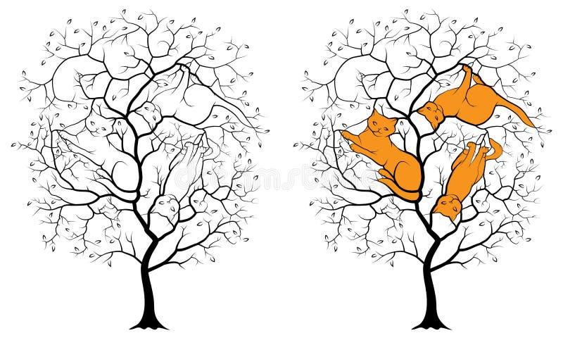 一棵树的黑剪影在白色背景的,在三只猫中分支暗藏的等图片