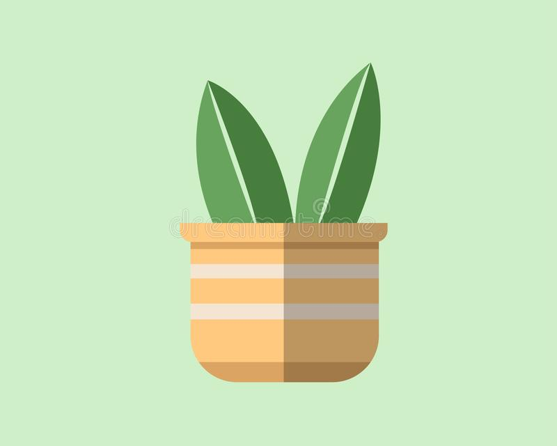 一棵植物的平的设计罐的 向量例证