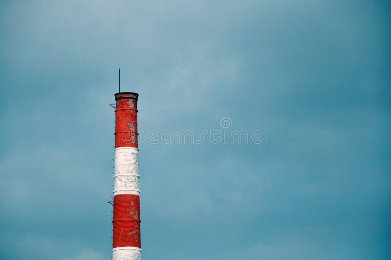 一棵植物的烟窗反对灰色天空的 库存图片