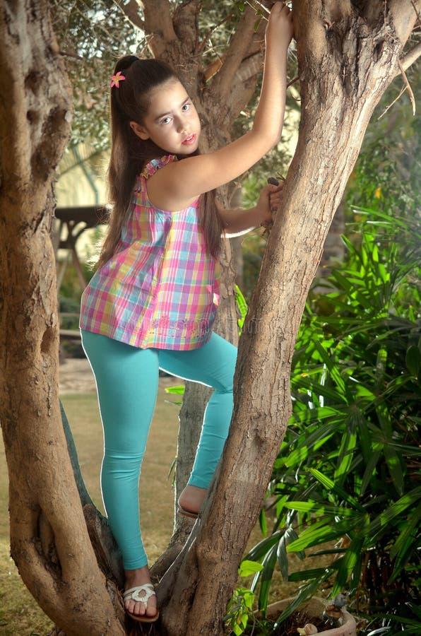 一棵橄榄树的美丽的十几岁的女孩 库存图片