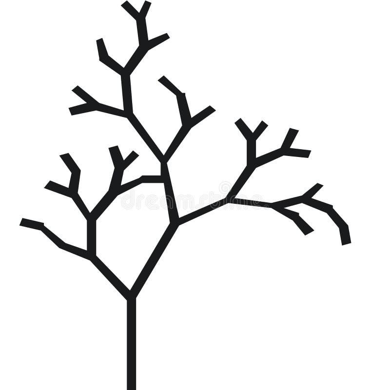 一棵没有叶子的树和分支的剪影与树干的 黑白传染媒介象 向量例证