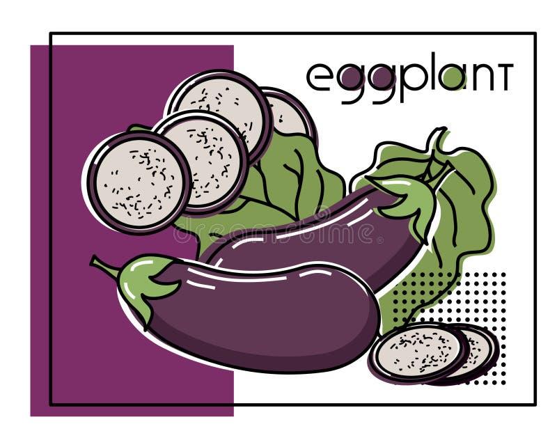 一棵菜的传染媒介图象用原始的题字茄子 皇族释放例证