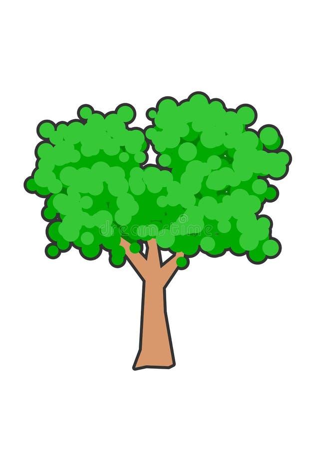 一棵豪华,绿色树的简单的构成 皇族释放例证