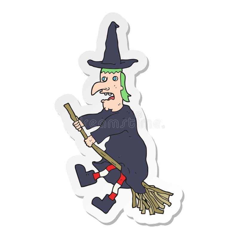 一次动画片巫婆飞行的贴纸在笤帚的 库存例证