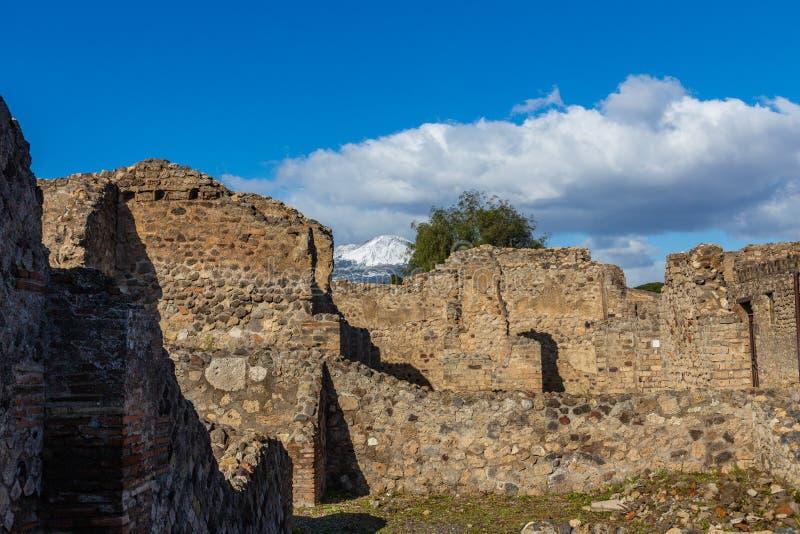 一次引人入胜的旅途通过古城庞贝城,意大利的废墟 库存照片
