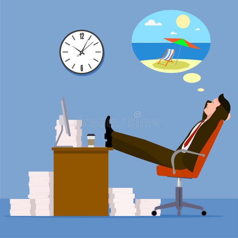 一次暑假的梦想的办公室工作者 库存例证