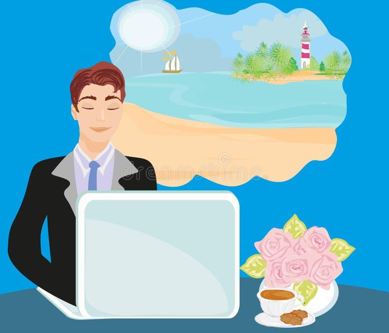 一次暑假的梦想的办公室工作者 向量例证