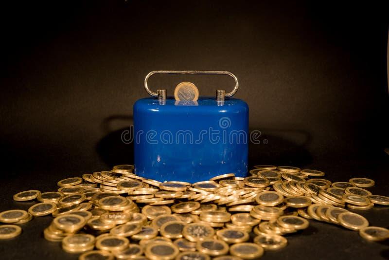 一欧元硬币 库存照片