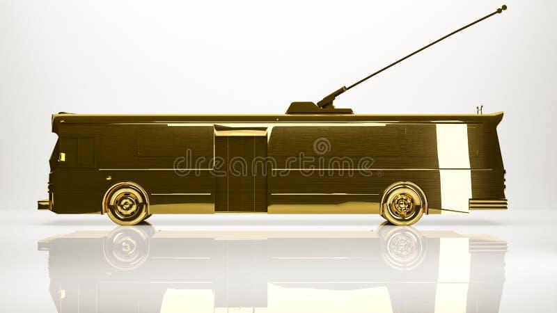 一汽车trolebus的金黄3d翻译在演播室 向量例证