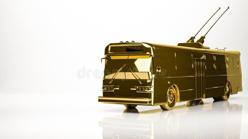一汽车trolebus的金黄3d翻译在演播室 库存例证