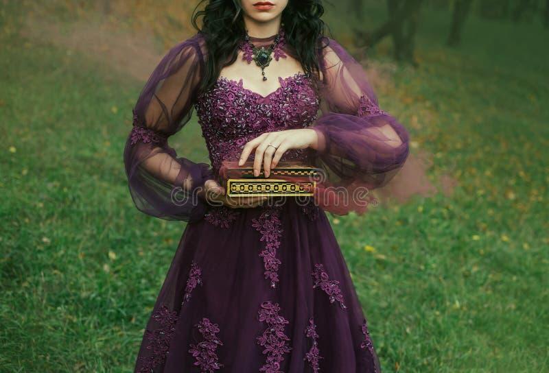 一深色头发的少女在她的手上慢慢地举行一个开放罪恶潘多拉魔盒、红色褐红的大雾和疾病 图库摄影