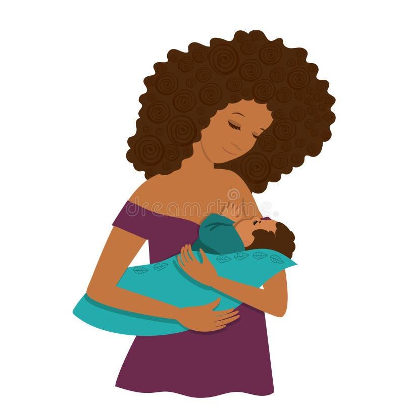 一深色皮肤的年轻女人喂养她的孩子 r E 向量例证
