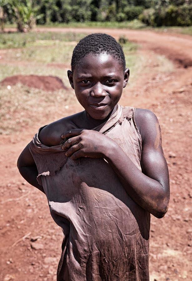一点乌干达男孩在Jinja 免版税库存照片