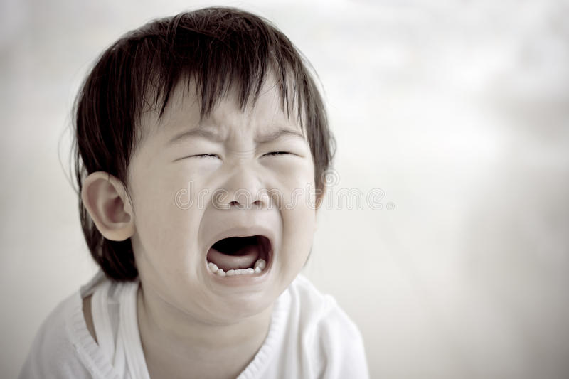 一点亚洲女孩(泰国)哭泣 免版税库存照片