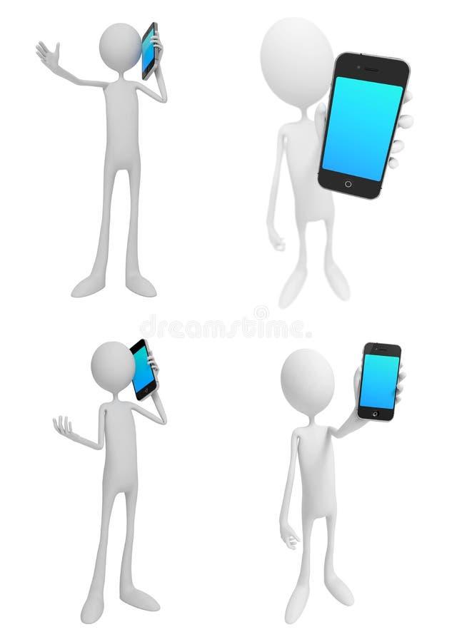 一点人与电话-套3D例证 向量例证
