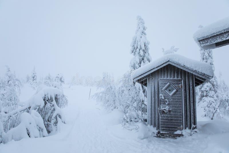 一点传统木小屋在多雪的森林里 库存图片