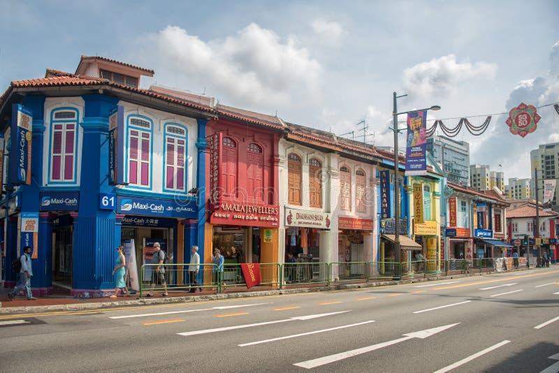 一点印度的街道的议院在新加坡 库存图片