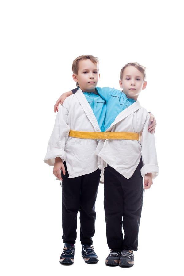 一点双男孩假装的图象暹罗语 免版税图库摄影
