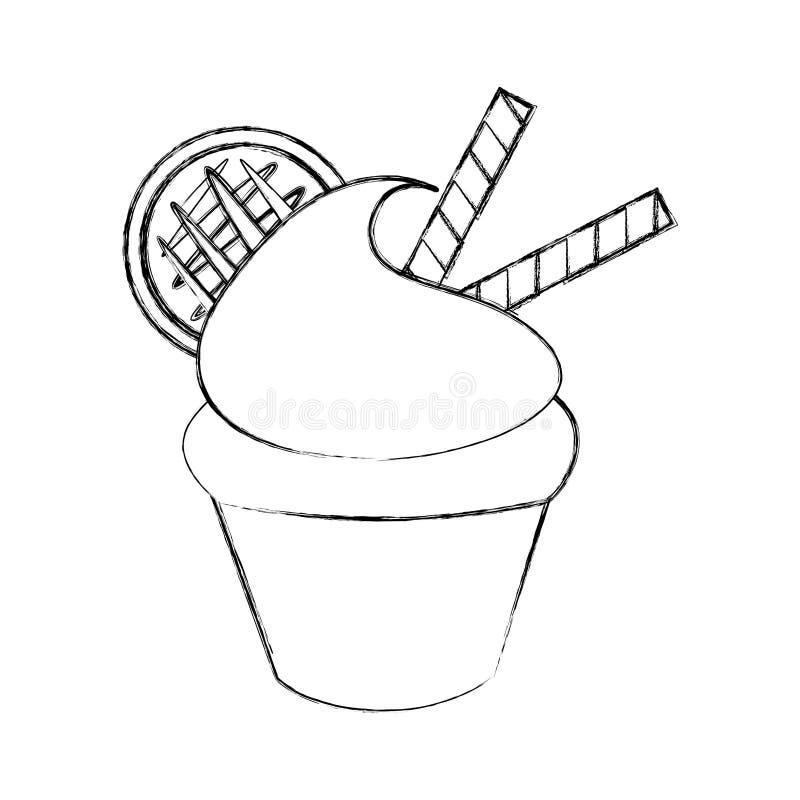 一点可口乳脂状的杯形蛋糕 向量例证