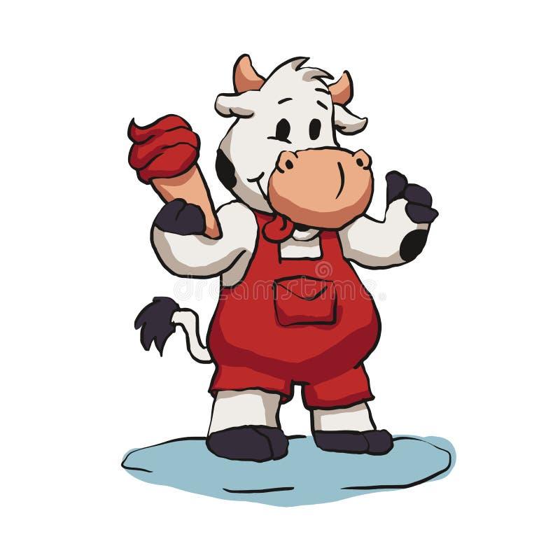 一点吃冰淇淋的公牛 库存例证