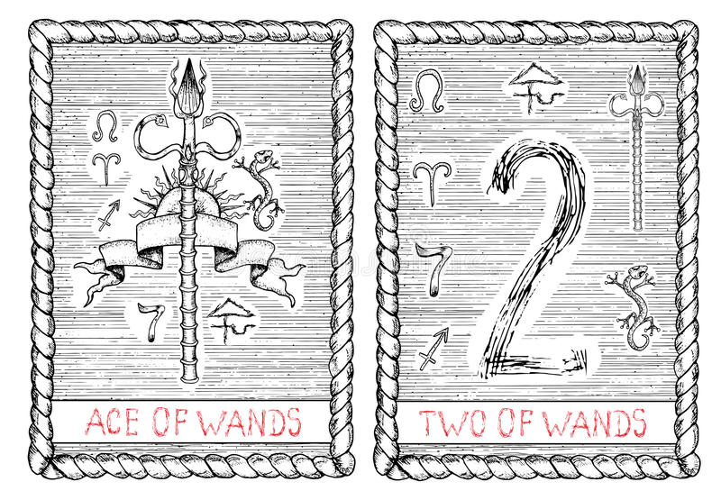 一点和两鞭子 占卜用的纸牌 向量例证