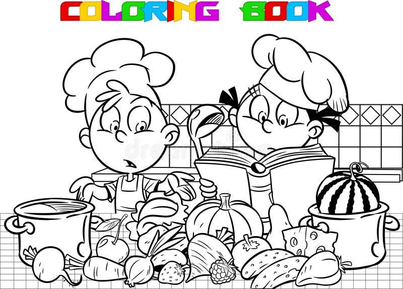 一点在厨房着色烹调 向量例证