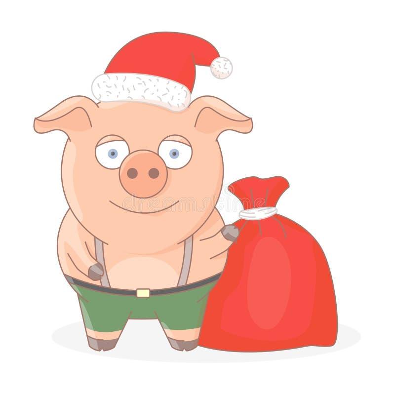 一点在红色圣诞老人的帽子的猪 皇族释放例证