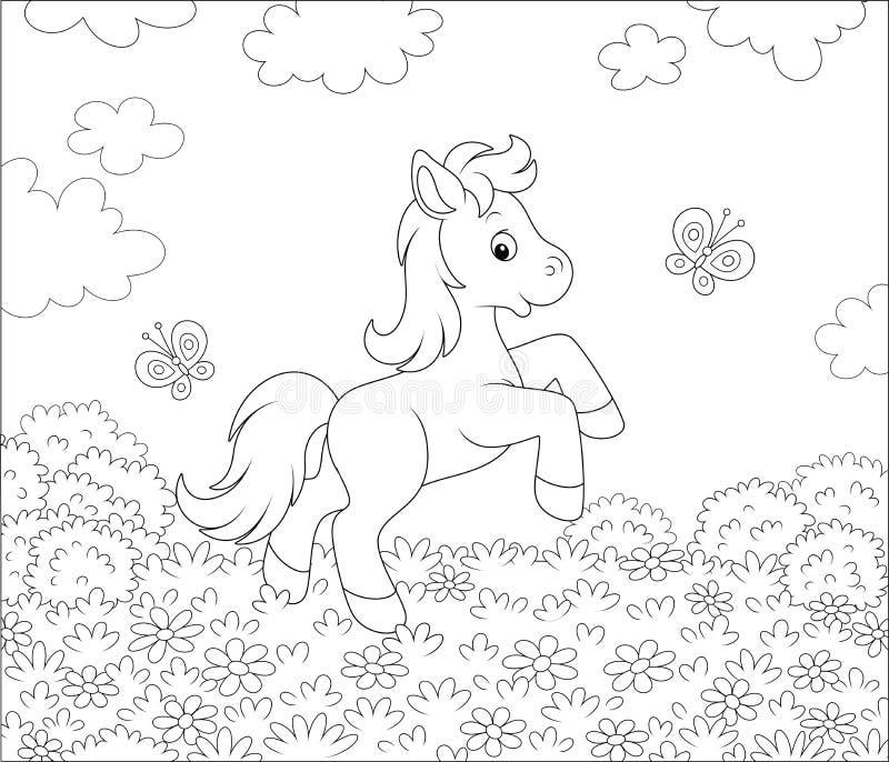 一点在花草甸的小马 向量例证
