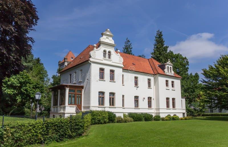 一点城堡在奥里希县的历史中心 库存图片