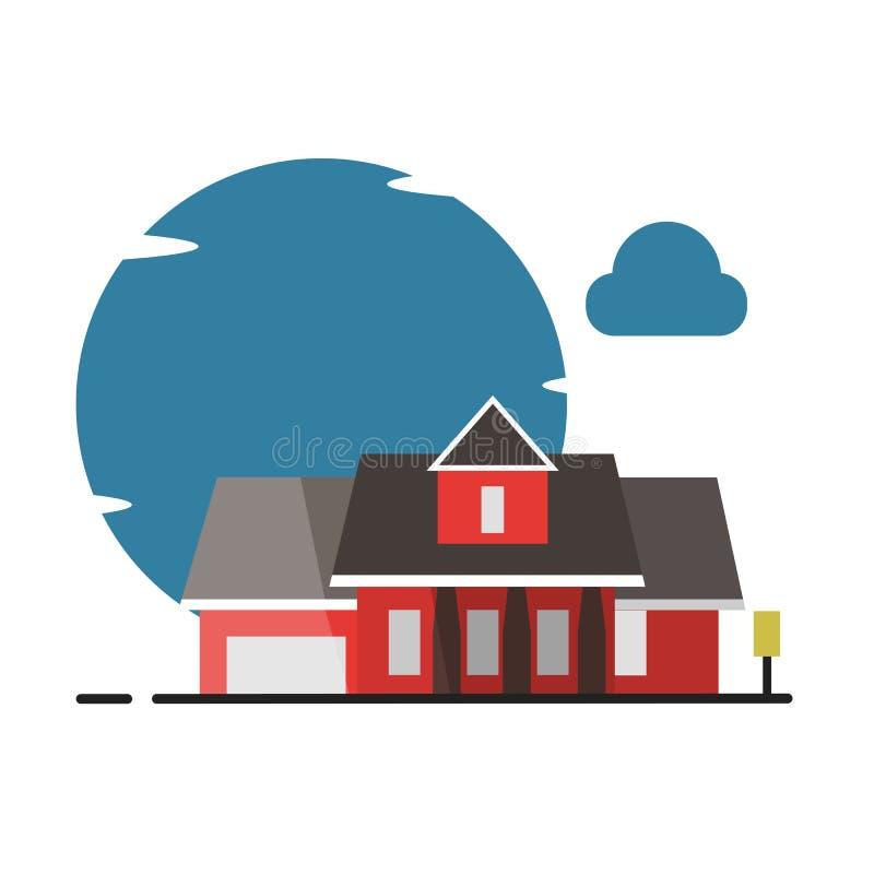 一点大房子平的样式例证-传染媒介 向量例证